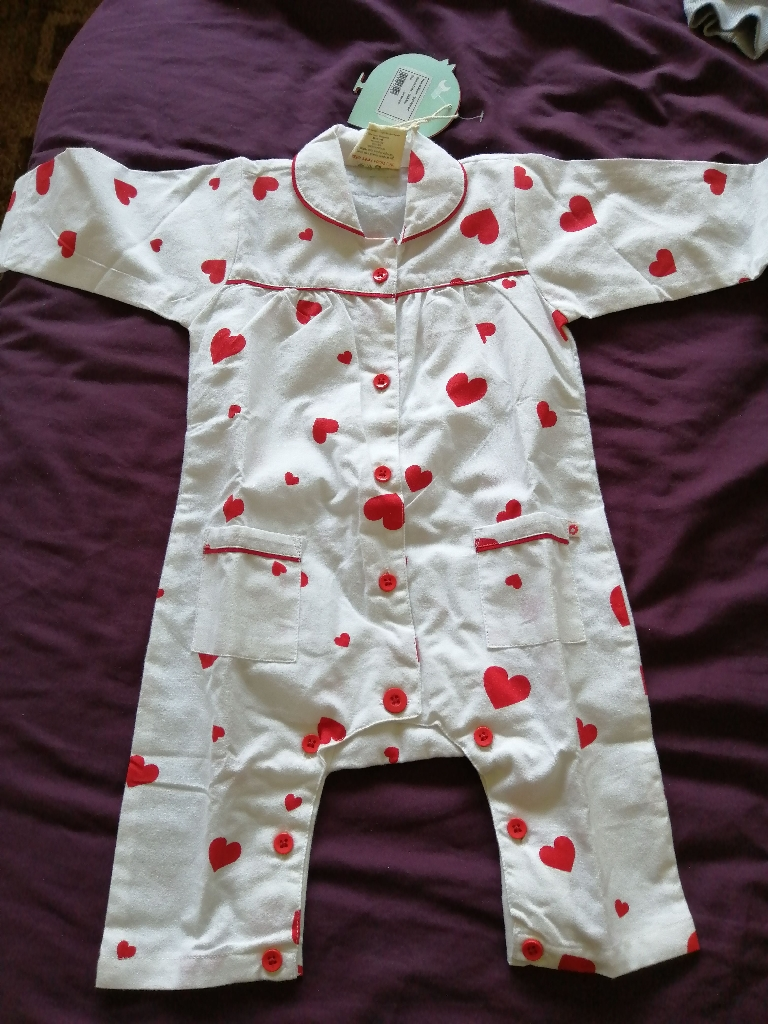 Picalilly Organic love heart footless Romper