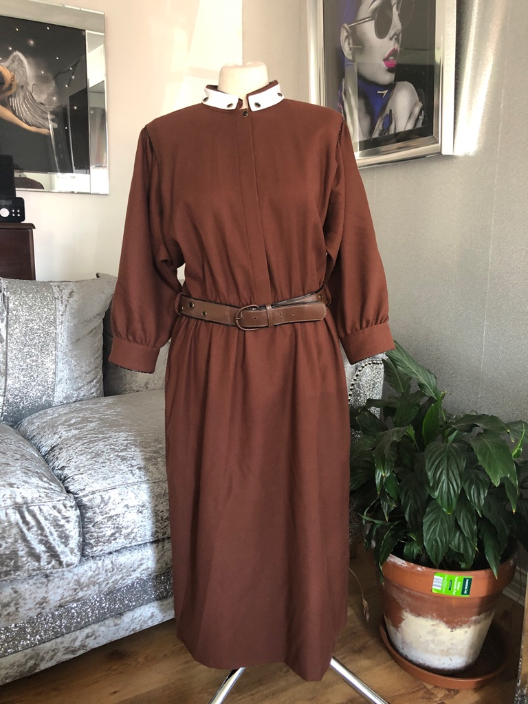 Women's brown vintage dress by basler size 14