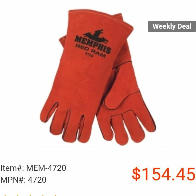 Memphis red ram WELDING gloves brand new 2 pairs