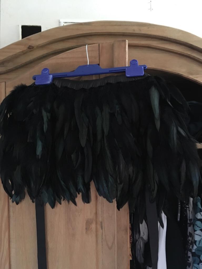 Black raven feather shawl