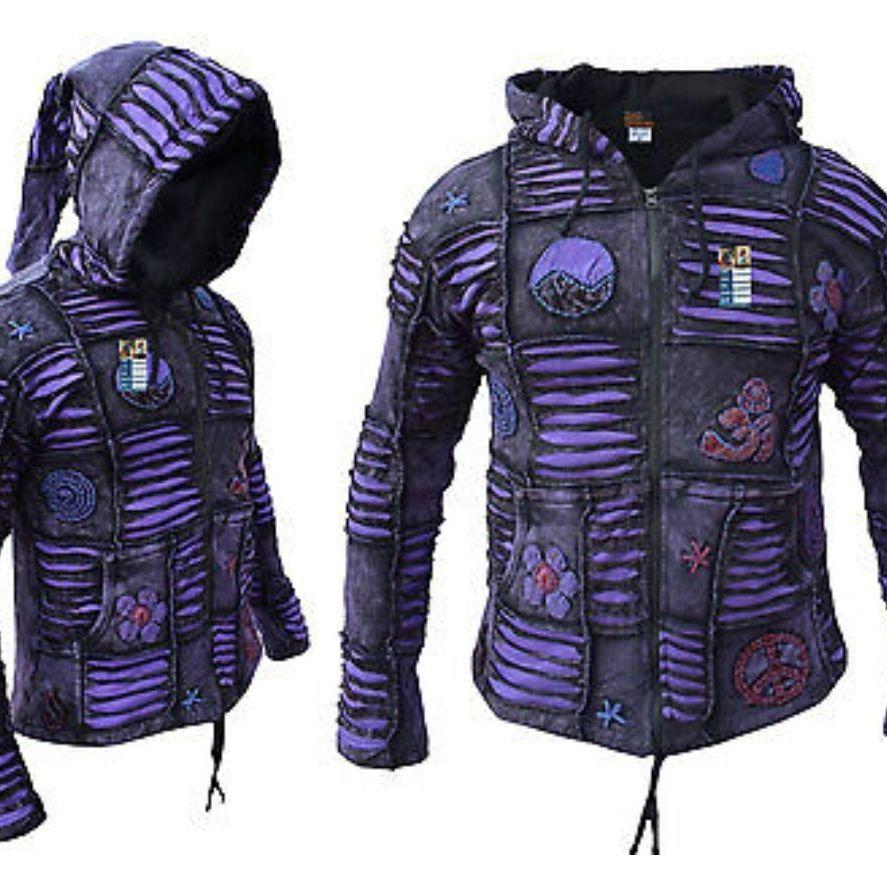 Boho hoodie padded purple XL