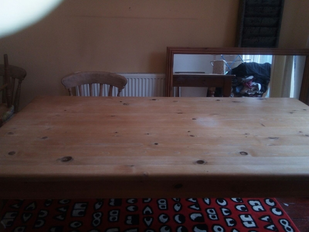 Farmhouse style pine table x 6 chairs