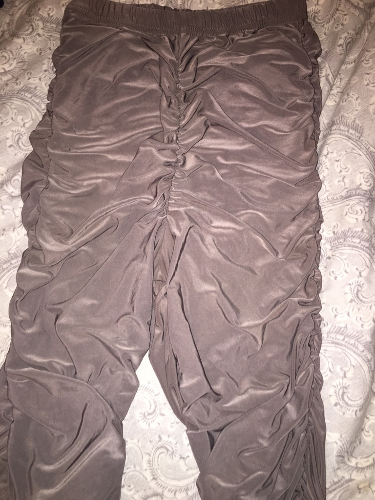 Mocha High Waisted Side Ruched Slinky Going out Pants/Leggings