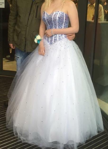 Tiffany illusion prom dress white/blue/purple