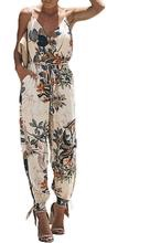 Women's summer floral printed sleeveless jumpsuit