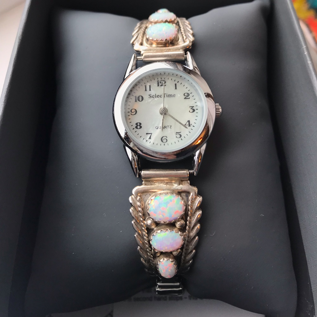 Ladies silver and Opal Watch