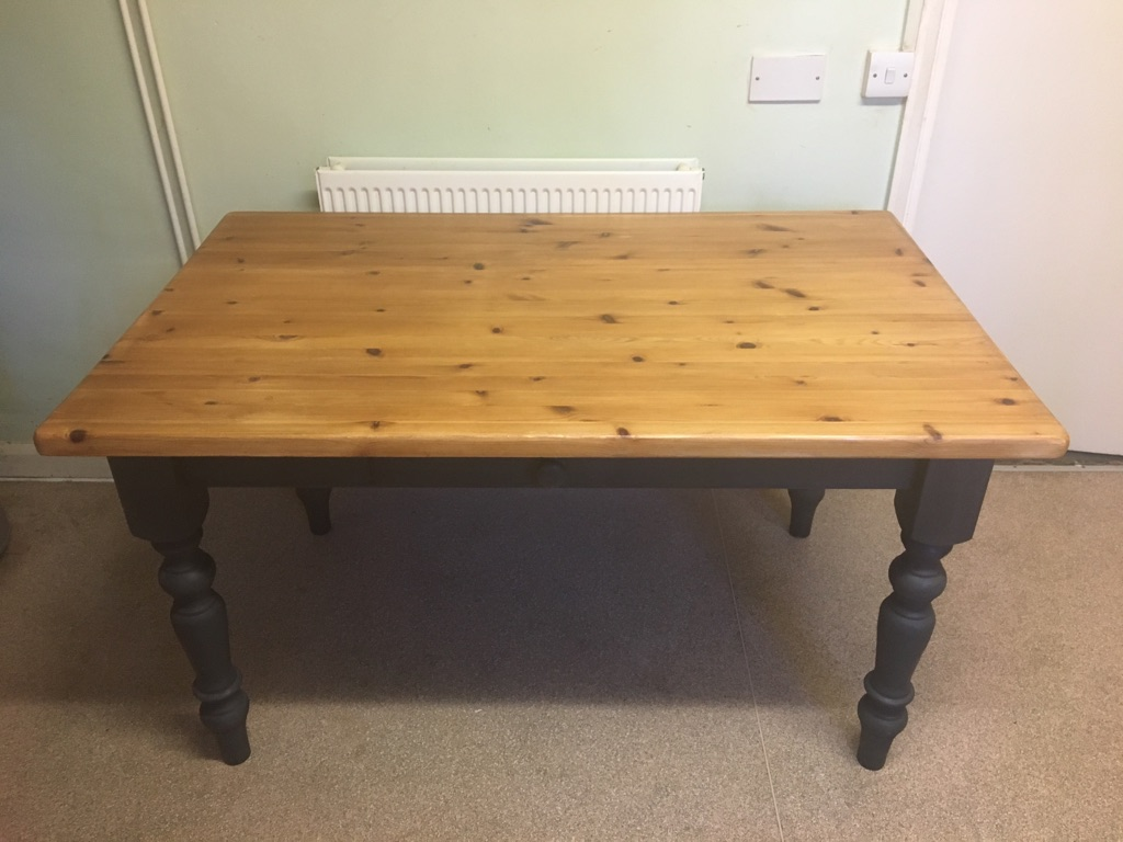 Laura Ashley slate grey farmhouse table, solid pine with single drawer
