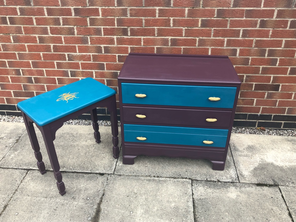 Gorgeous Antique drawers and Table  freshly redesigned