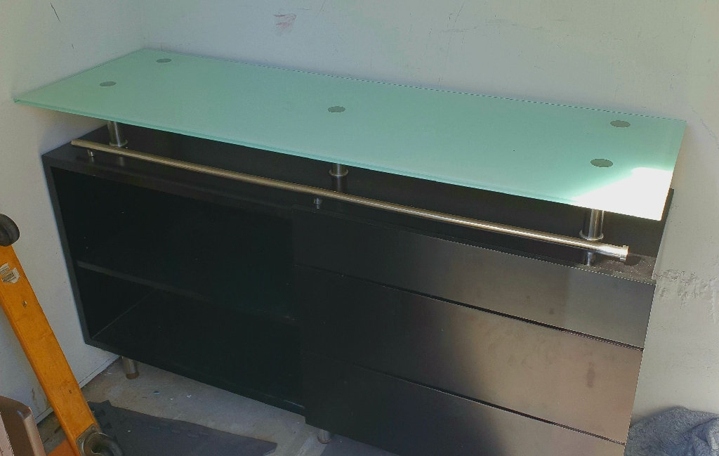 Elegant Black Espresso Dresser Glass Top