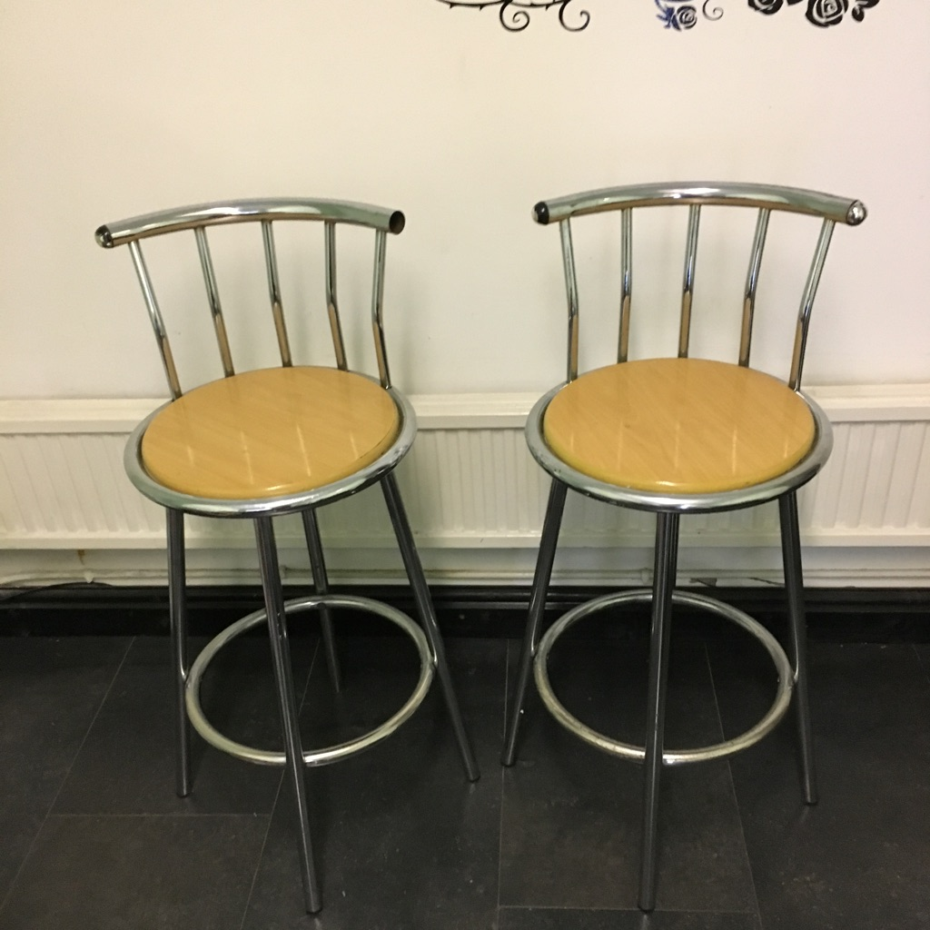 Metal Bar Stool SetWith Wooden Seat