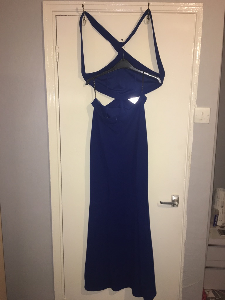 Blue missguided evening cut out dress