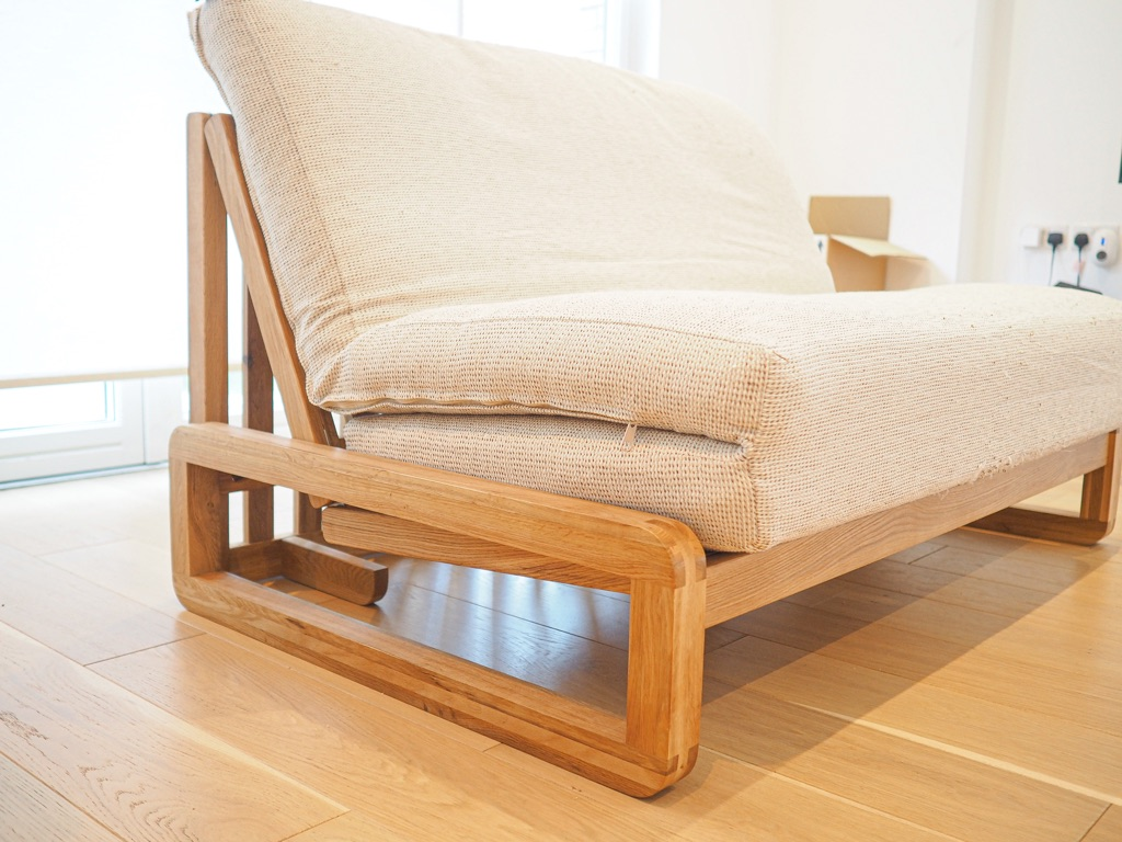 Futon Company Solid Oak Double Sofabed Trifold Ultimate Mattress & Cushions RRP£944