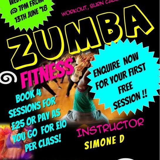 FREE ZUMBA SESSION FROM WEDNESDAY 13TH JUNE 2018