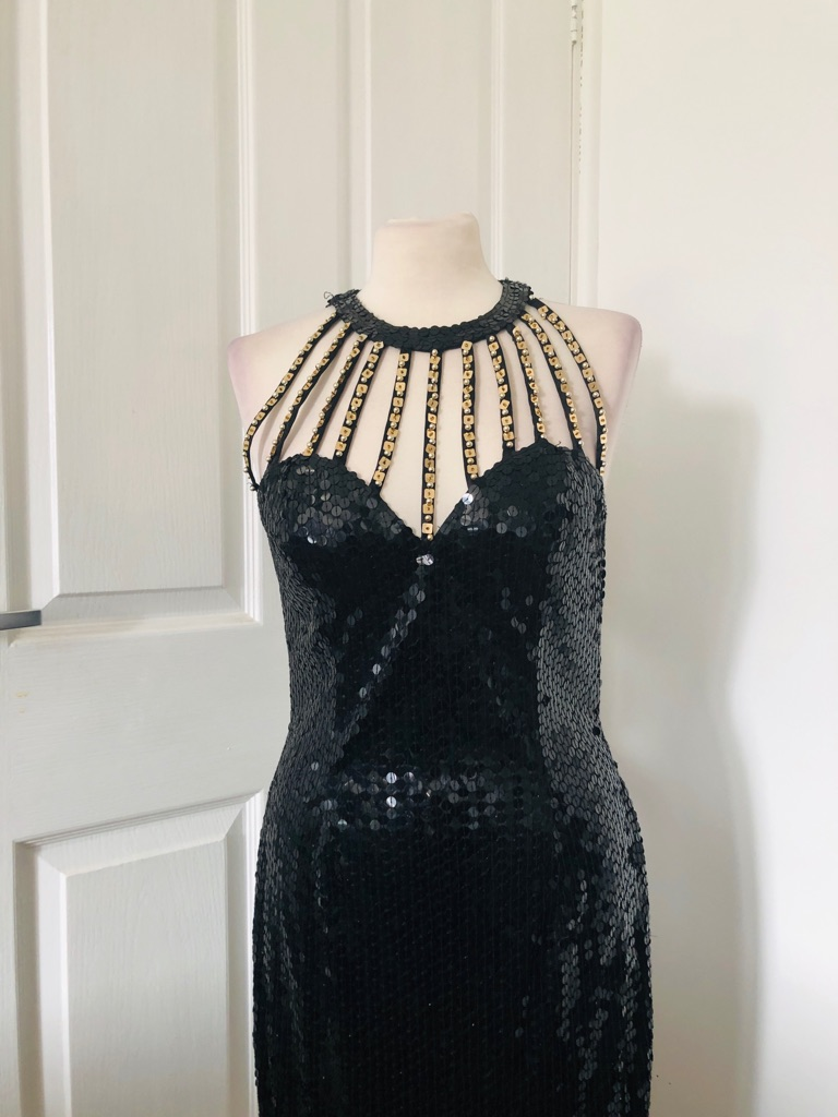 Women's Black vintage dress By niteline size 10/12