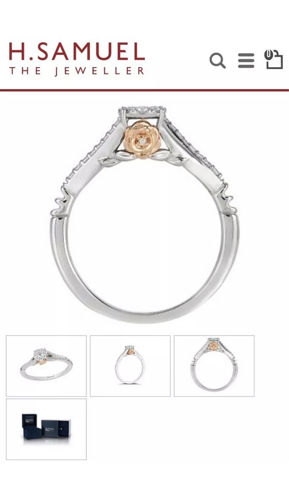 Limited addition Enchanted Disney Fine Jewellery Diamond Belle Ring.