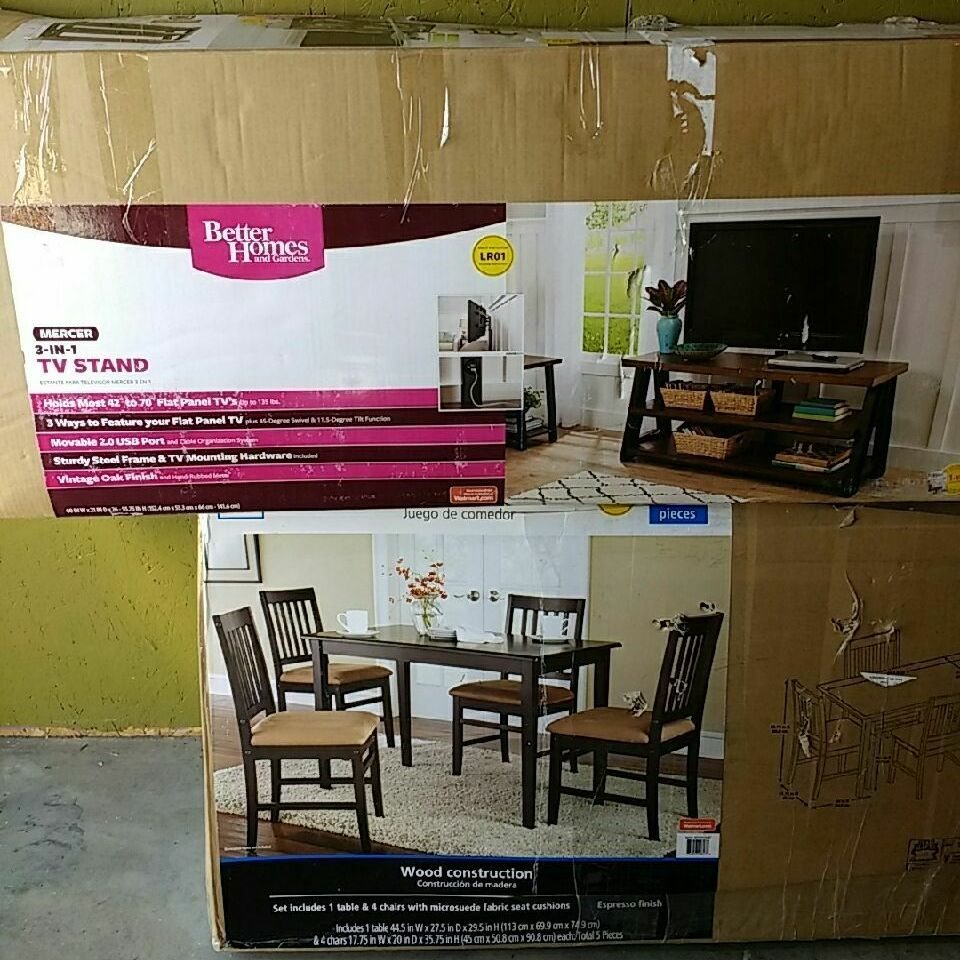 3 in 1 TV stand and 5 peace dining set