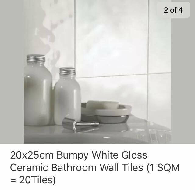 Bumpy Surface White Gloss Tiles (One Box)