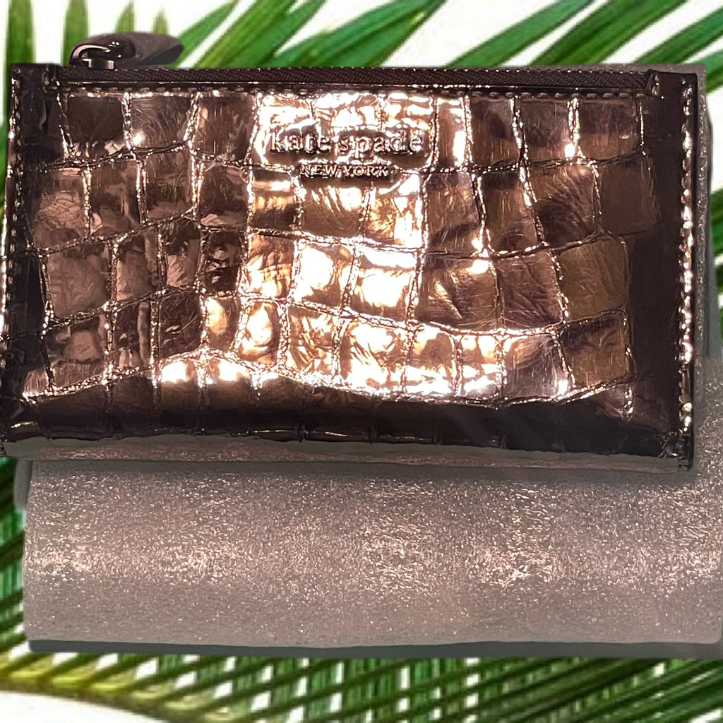 Kate Spade Italian Leather Croc Embossed Small Bifold Wallet