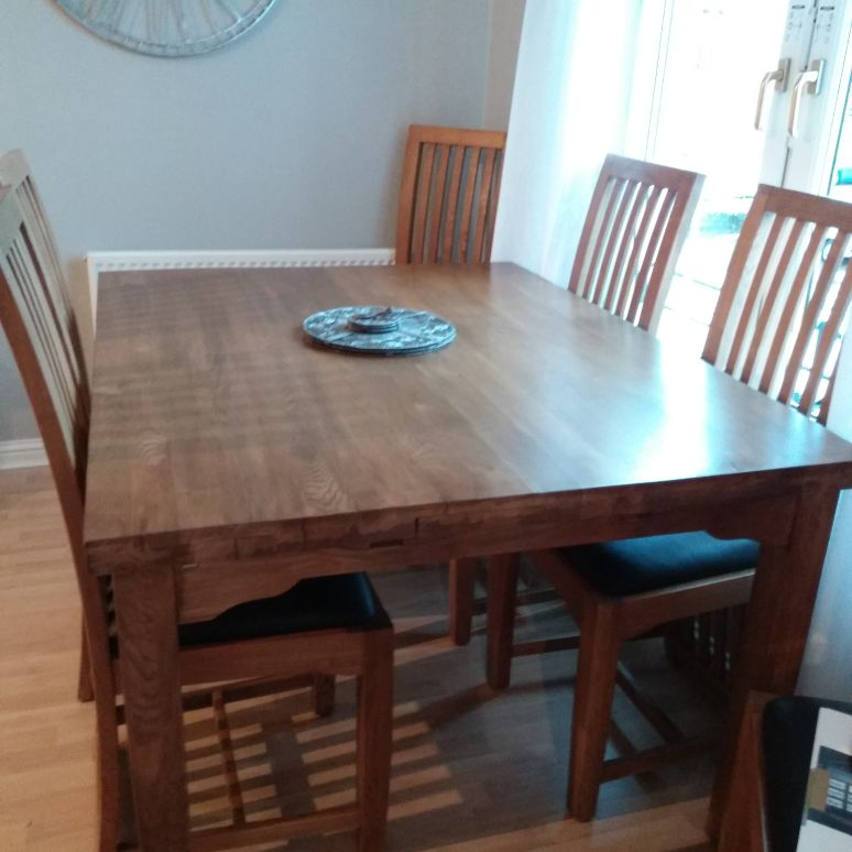 Solid Oak Extending Dining Table 6 Chairs Beautiful