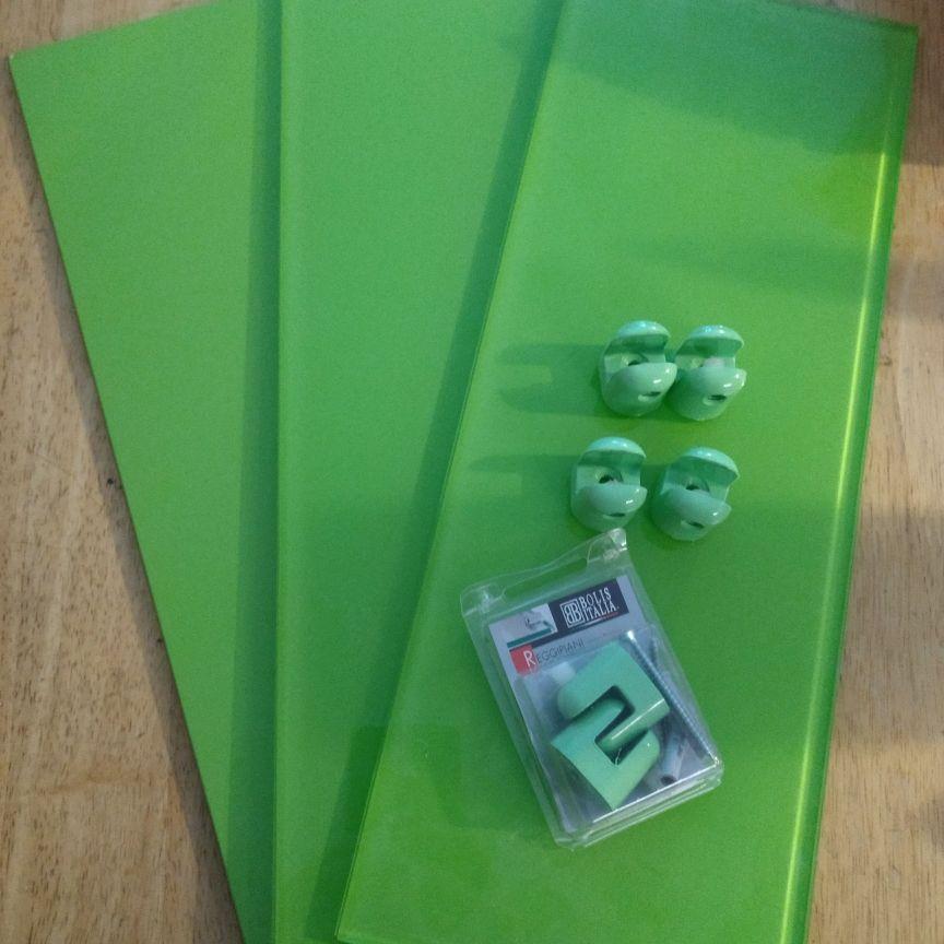 Green glass shelves and brackets x 3