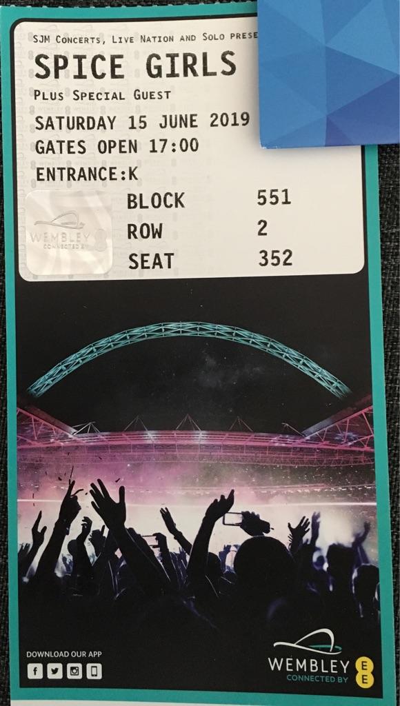 Spice girls tickets x2 Wembley Sat 15th June