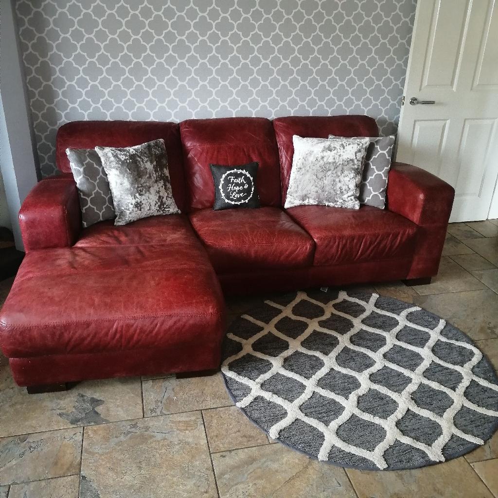 Red leather corner sofa | Village