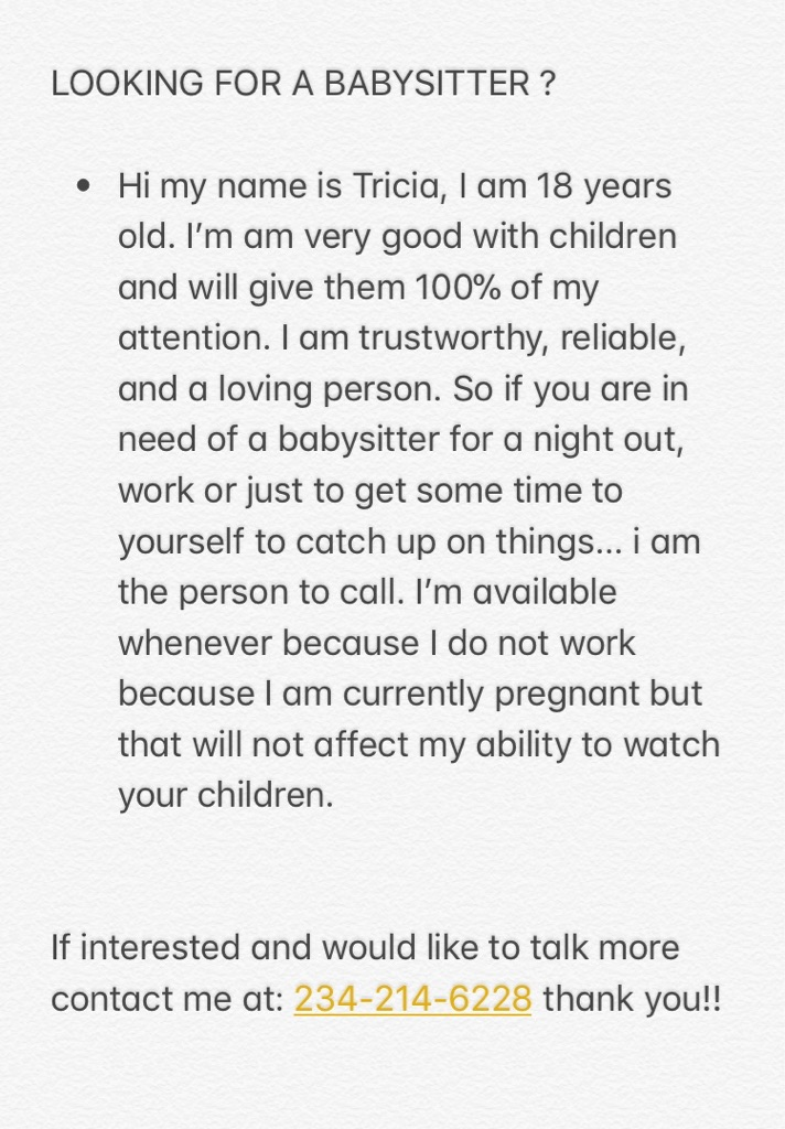 LOOKING TO BABYSIT