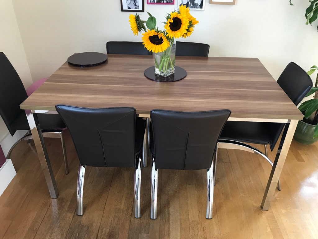 Large dining table + 6 dark chocolate chairs