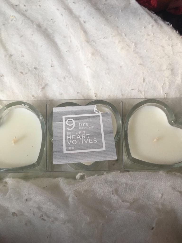 Three love heart votives