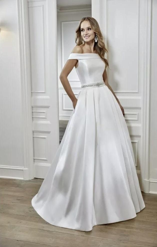 Ronald Joyce Mikado Ivory Wedding Dress UK size 6