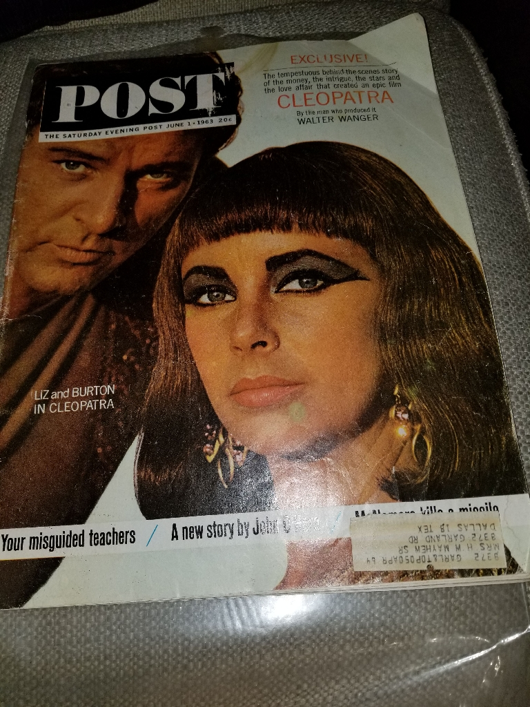 THE POST MAGAZINE  JUNE 1, 1963 CLEOPATRA LIZ TAYLOR AND RICHARD BURTON
