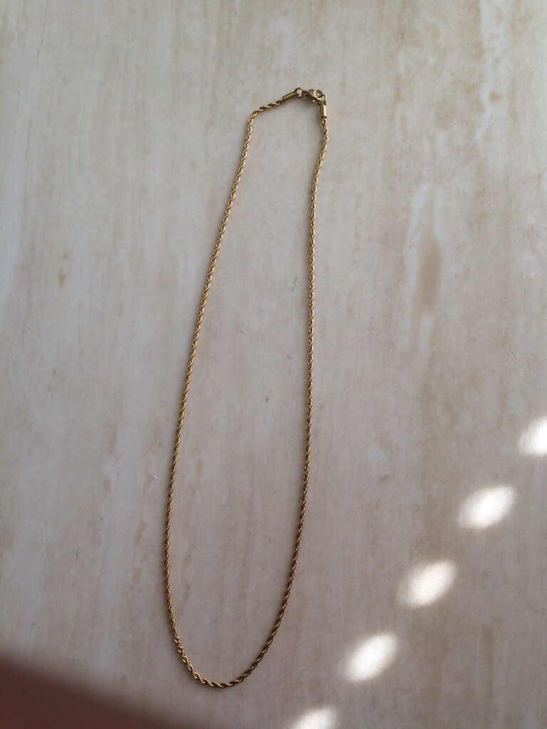 24k solid gold rope chain