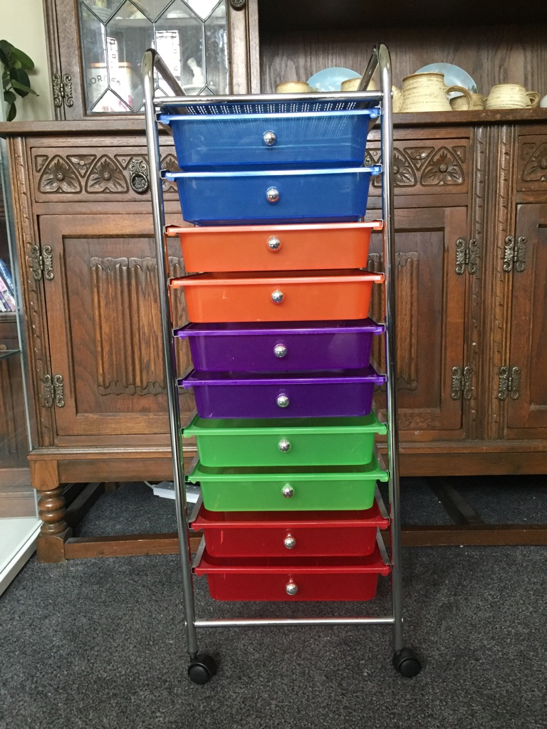 Multi colour drawers trolley kids toy home storage unit