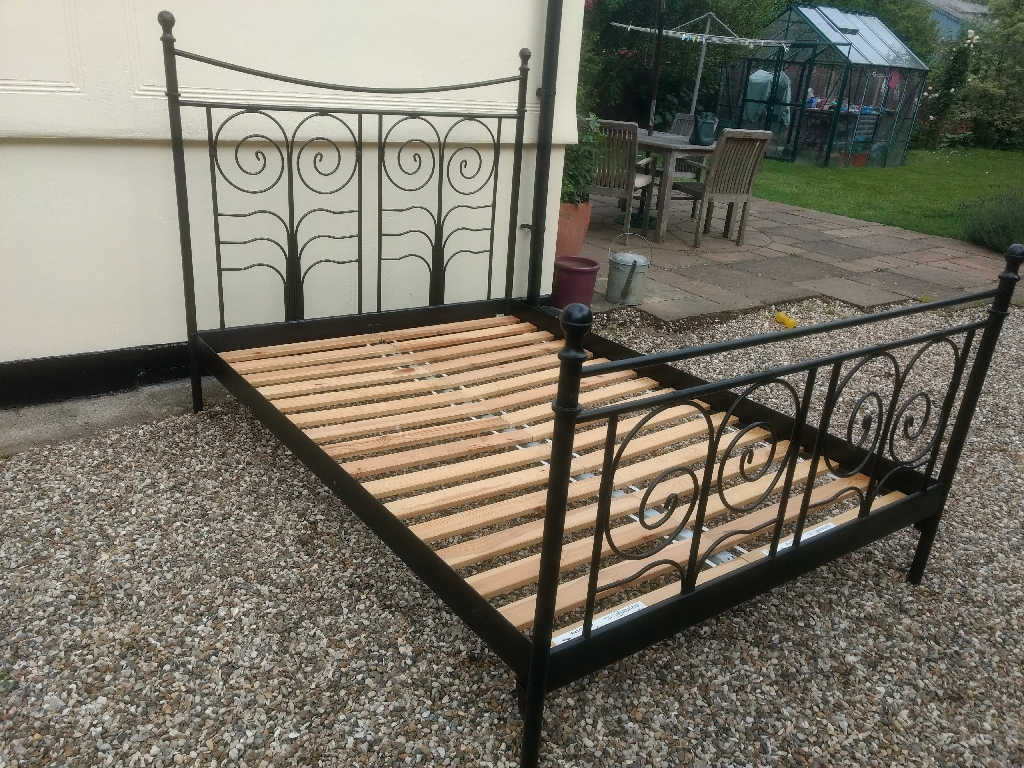 Black metal bed frame - size double