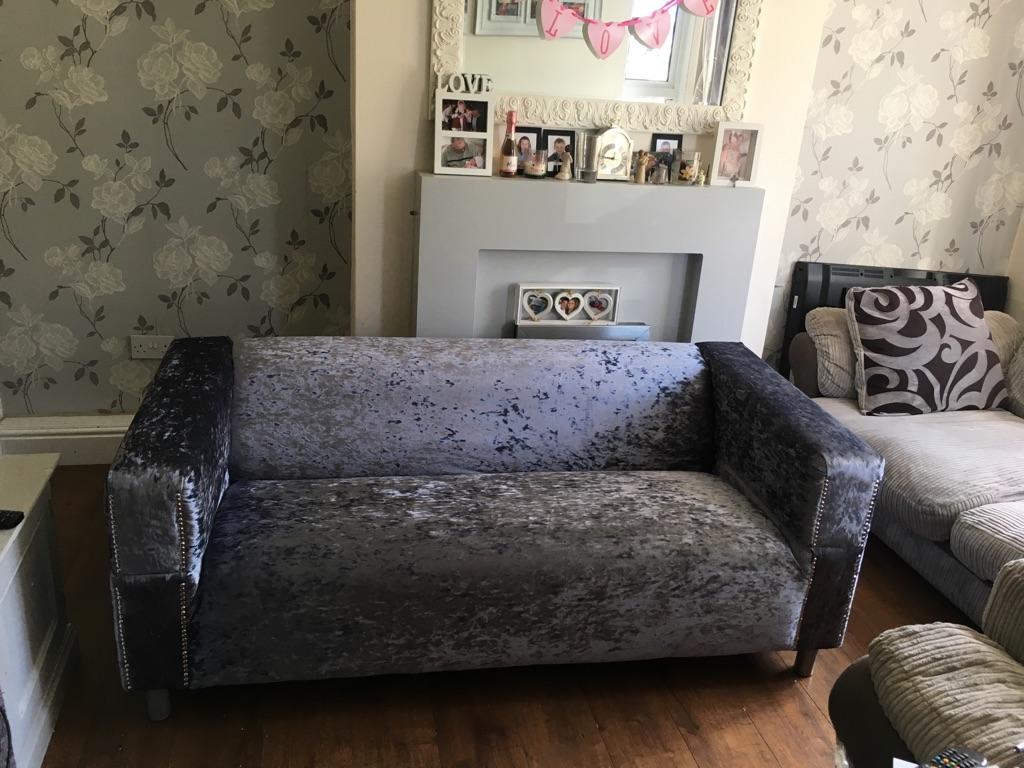 Slate grey crushed velvet sofa