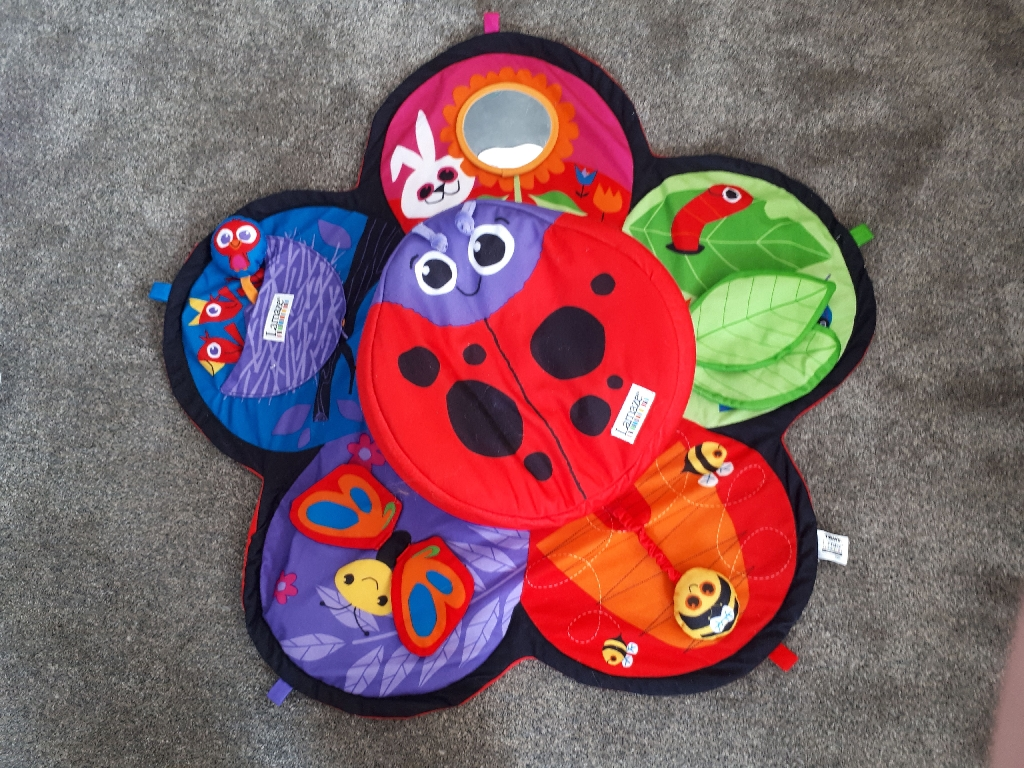 Lamaze spin and explore garden baby and gym play mat