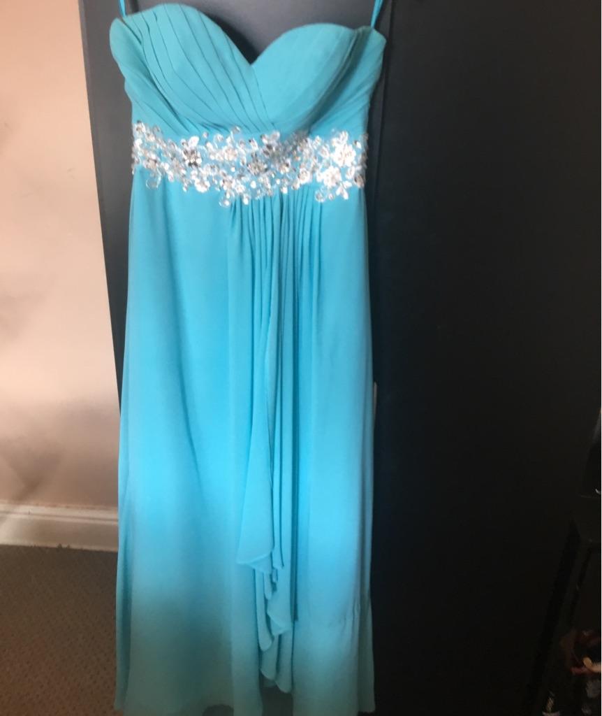 Teal floor length dress