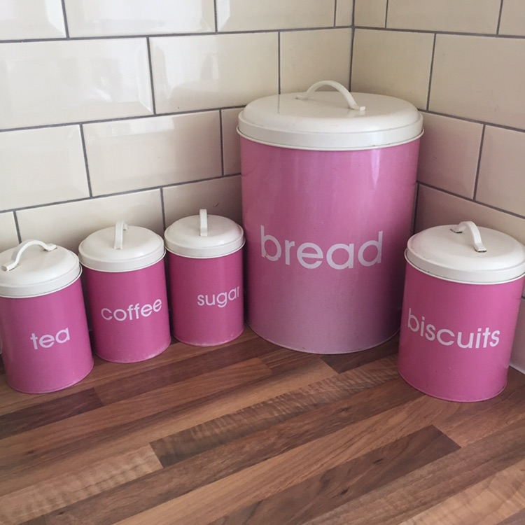 Tea coffee sugar set with bread and biscuit tin