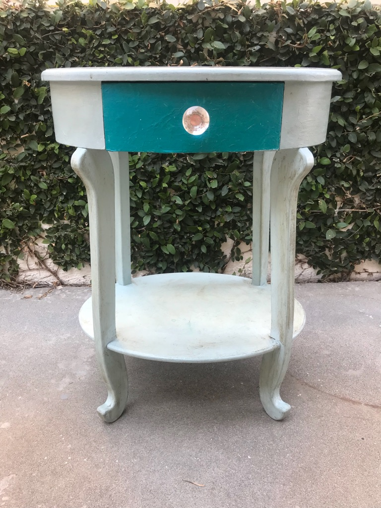Oval Side Table with Drawer