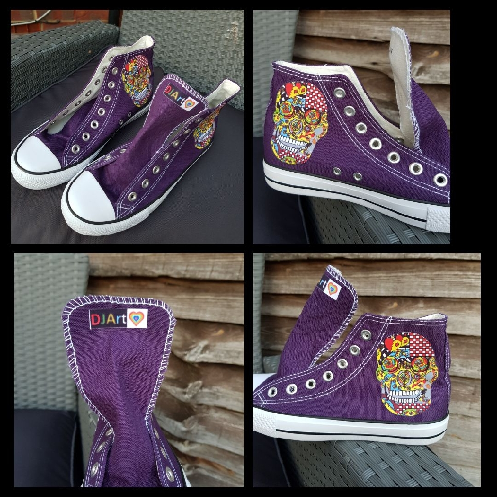 Funky art printed on canvas shoes