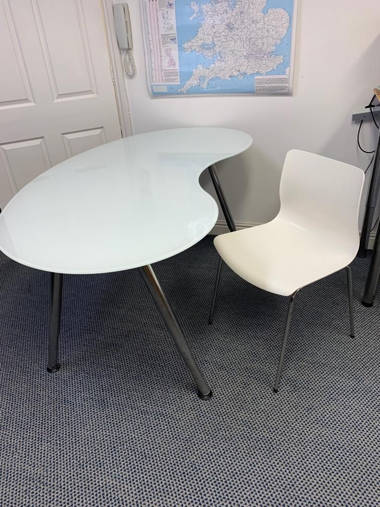 Glass Desk / Table with White Chair