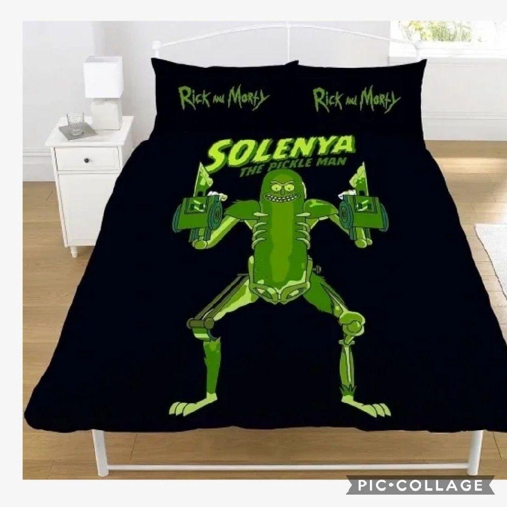 "Official Rick and Morty Pickle Rick Rat Suit ""Reversible"" Duvet Cover Bedding Set0"