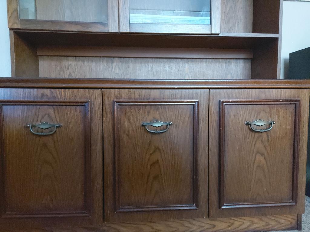 Dark Wood Glass Door Display Unit