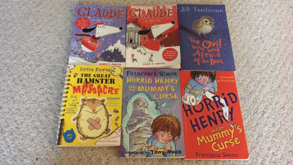 Selection of childrens books 5yrs+ horrid henry; CLAUDE; the owl who was afraid of the dark