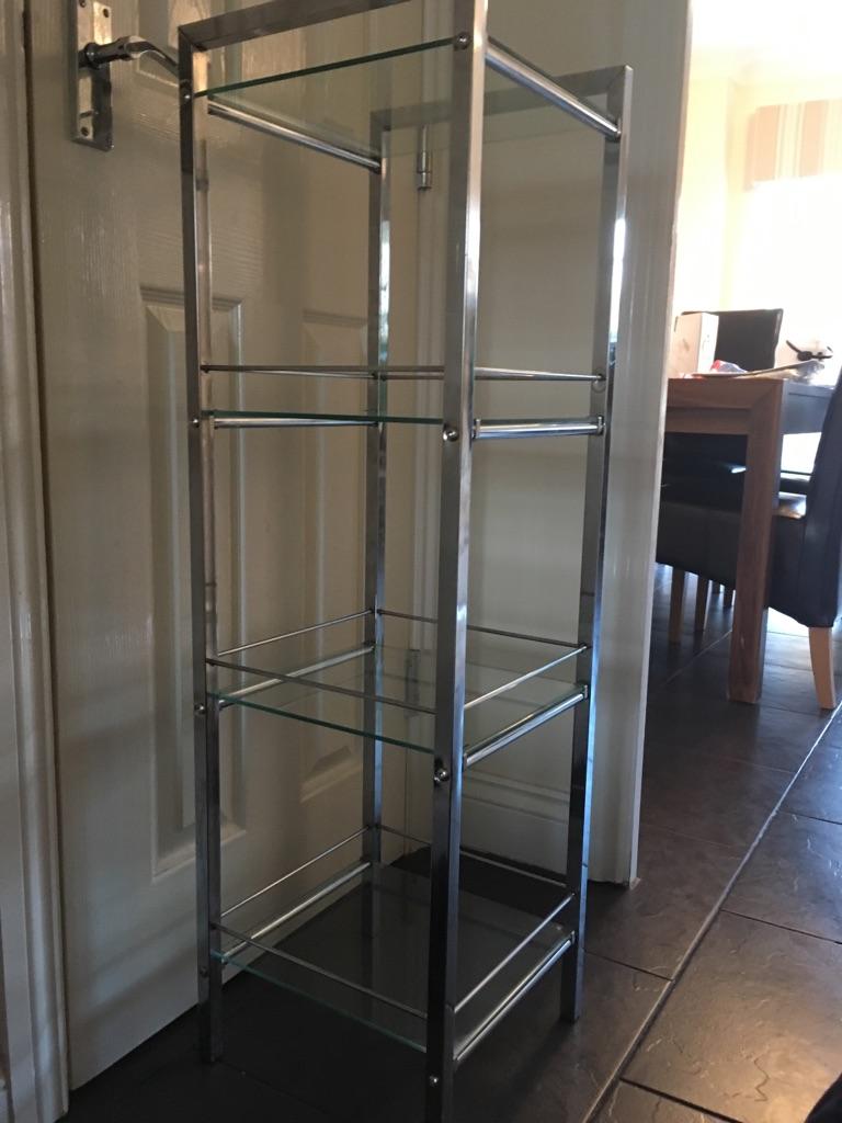 Glass shelving unit