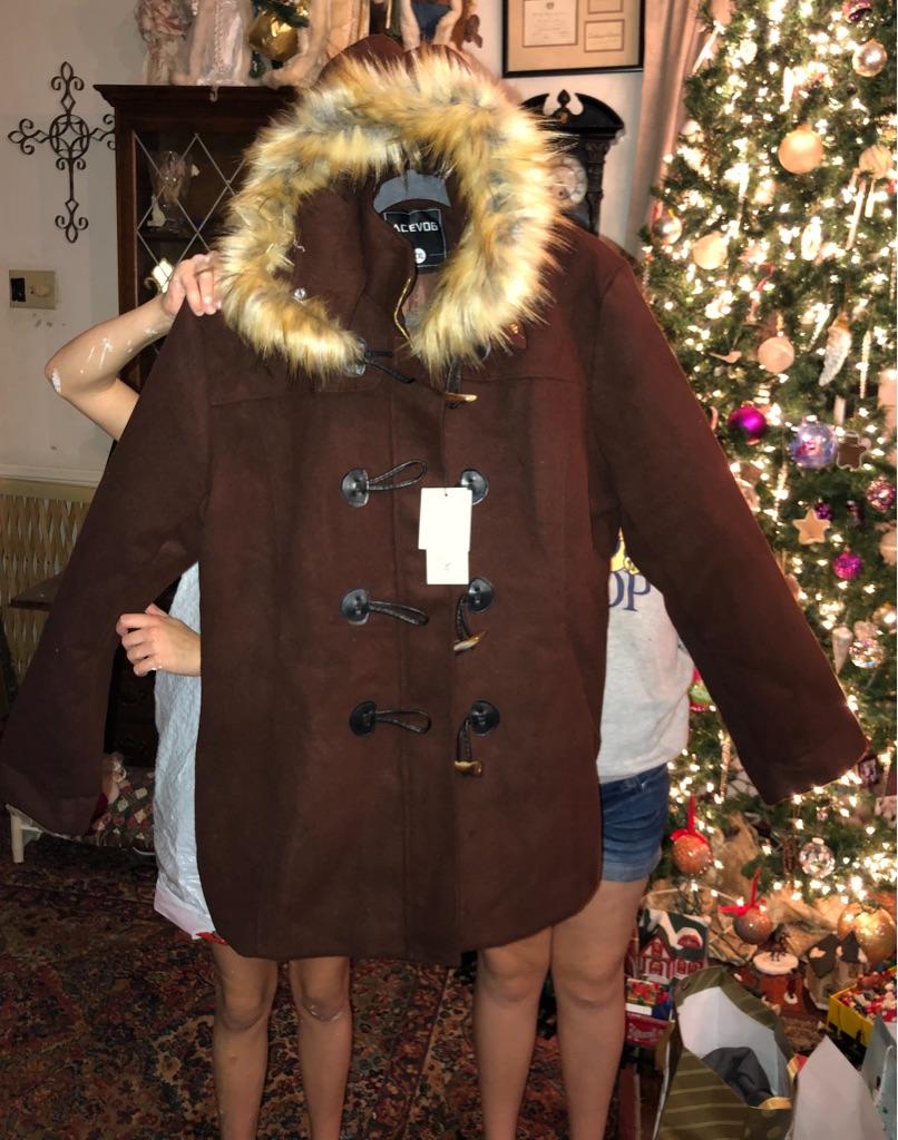 Reduced $$. Brown fur lined hood winter hood