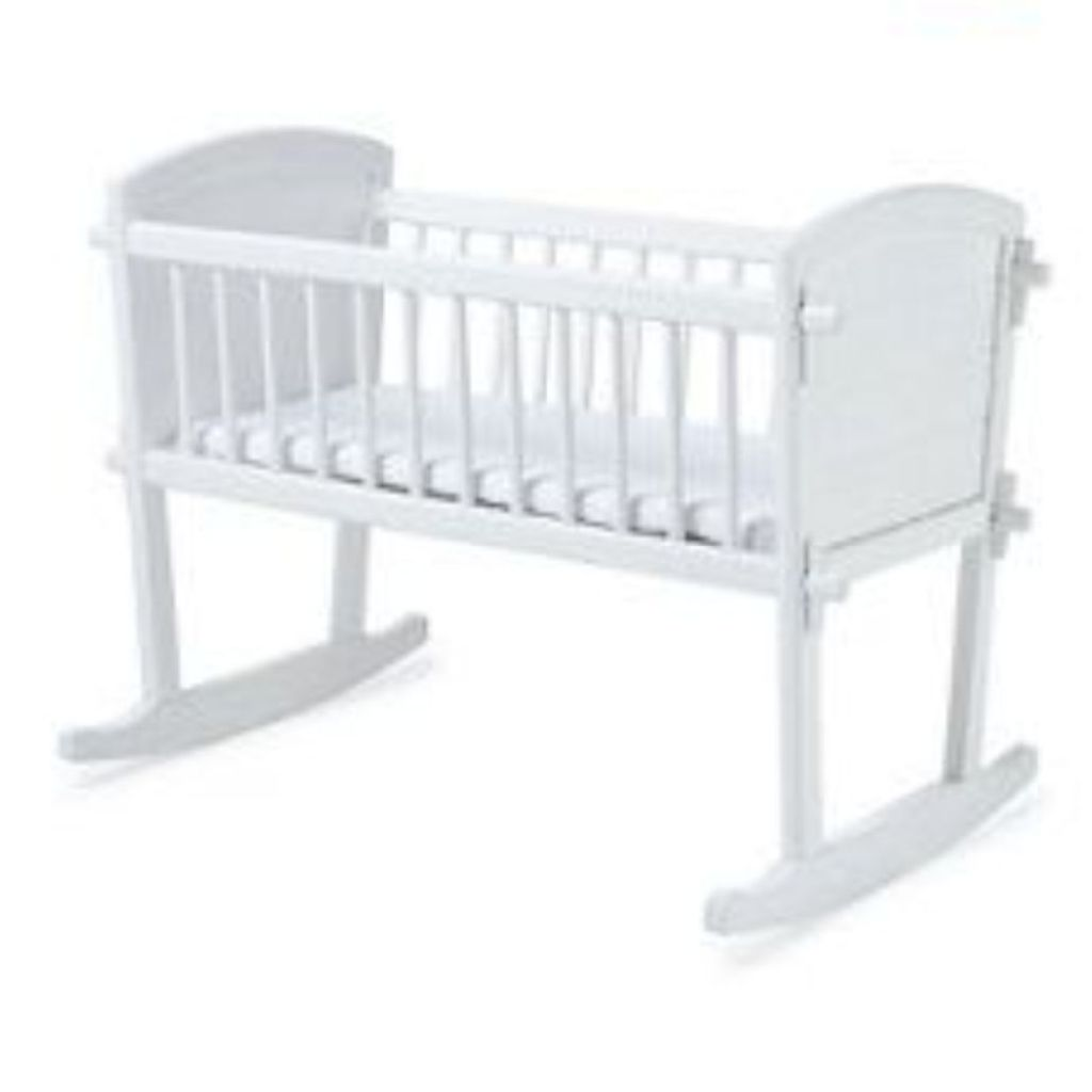 white baby rocking crib