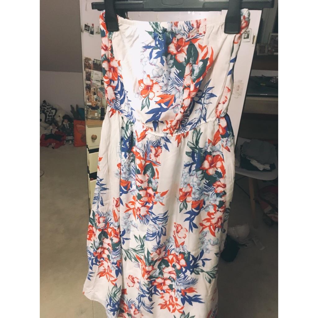 White flowery Strapless Summer Dress