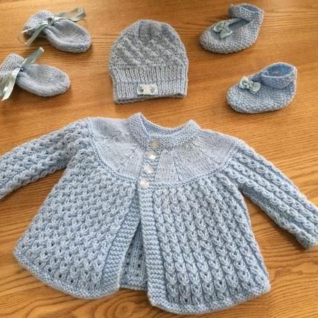 Handmade knitted baby matinee set-pale blue