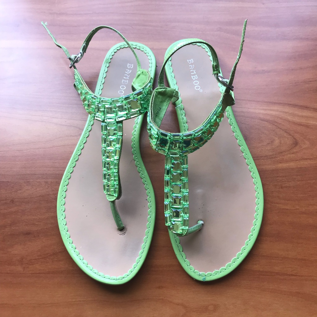 Green Thong Sandals - Size 7